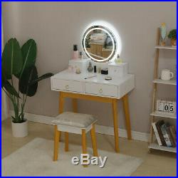 Makeup Vanity Table Set Dresser Desk withLighted LED Touch Screen Hollywood Mirror