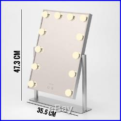 Melur Hollywood Light Up Vanity Makeup Mirror Silver with LED Lights for Makeup