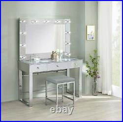 Modern Vanity Set Makeup Table & Stool Hollywood Mirror Clear Glass Top Chrome