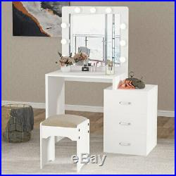 Modern Vanity Set with Mirror and 9 Hollywood Style Bulbs 3 Drawers Makeup Table