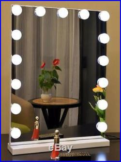 Moon Hollywood Vanity Mirror with 15 LED Lights Bulbs Makeup Mirror Touch White