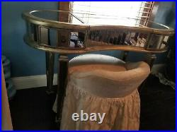 Neiman Marcus Hollywood Glam Mirrored Kidney Makeup Vanity & Skirted Chair