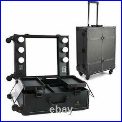 New Makeup Train Case with Mirror and LED Lights Hollywood Vanity Set Rolling