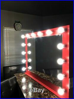 Red Extra Large Hollywood Makeup Vanity Mirror with LED bulbs and dimmer