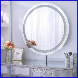 Round Crystal Frameless Hollywood Makeup Mirror Lighted Vanity Mirror Wall Mount