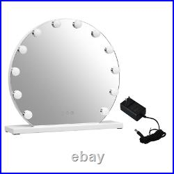 Round Hollywood Mirror with Lights 12 LED Bulbs Touch Screen Women Makeup Vanity