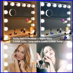 Tabletop Vanity Mirror with Lights, Wall Mounted Lighted Hollywood Mirrors Bulbs