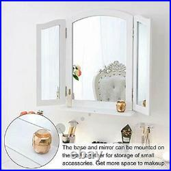 Trifold Mirror Detachable Base, 3 Way For Vanity Desk, Wood Hollywood Cosmetic X
