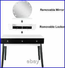Vanity Beauty Station with 12 LED Bulbs Hollywood Style Black Makeup table