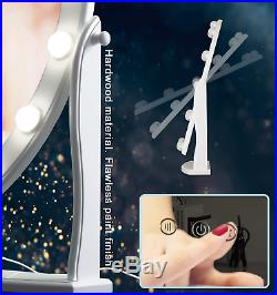 Vanity Makeup Mirror Hollywood Lighted Touch Control Dimmable Oval 12 LED Lights