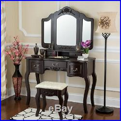 Vanity Makeup Table Set Stool Mirrors Desk Drawers Hollywood Beauty Station