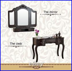 Vanity Makeup Table Set Stool Mirrors Desk Drawers Hollywood Beauty Station Sets