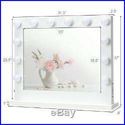 Vanity Mirror Dimmer Light Hollywood Makeup Wall Mounted with14 LED Bulbs White