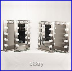 Vanity Mirror for Makeup & Cosmetic, Brushed Metal, Lighted Hollywood Style