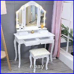 Vanity Set Hollywood LED Light Bulbs, 3 Fodling Mirrow Makeup Table with4 Drawer BB