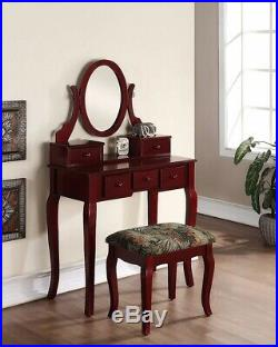 Vanity Set Table Stool Mirror Drawers Makeup Station Wood Cherry Hollywood Sets