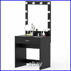 Vanity Set With Mirror & Cushioned Hollywood Dressing Table Vanity Makeup Table