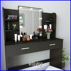 Vanity Set with 10 Hollywood LED Light Bulbs, Makeup Table with Stool and Mirror