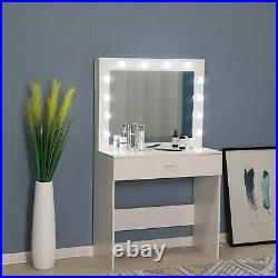 Vanity Set with 12 Hollywood LED Light Bulbs Makeup Table with Stool and Mirror