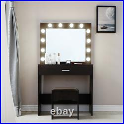 Vanity Set with 12 LED Lighted Hollywood Mirror Makeup Dressing Table Desk Stool