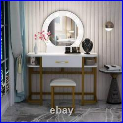 Vanity Set with 8 Hollywood LED Light Bulbs, Makeup Table with Stool & Mirror US