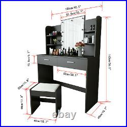Vanity Set with Hollywood LED Light Bulbs, Makeup Table +Stool and Mirror&Shelf