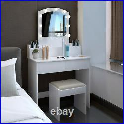 Vanity Set with Led Light Hollywood Mirror Drawer Makeup Dressing Table & Stool
