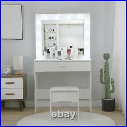 Vanity Set with Led Light Hollywood Mirror Drawer Makeup Dressing Table with Stool