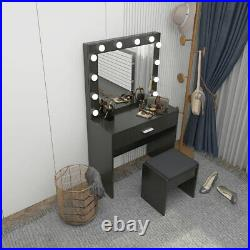 Vanity Set with Led Light & Stool Hollywood Mirror Drawer Makeup Dressing Table