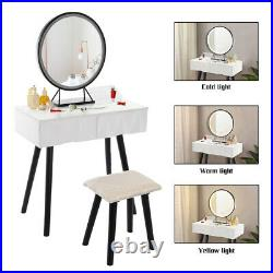 Vanity Set withHollywood LED Light, Makeup Table with Stool and Dimmable Mirror WH
