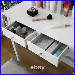 Vanity Set withLed Hollywood Mirror Drawer Makeup Dressing Table Cushioned Stool
