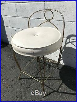 Vanity Stool Chair Bench Seat Hollywood Regency Antique Gold Makeup Chair Gold