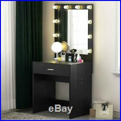 Vanity Table Set with Lighted Vanity Mirror Hollywood Makeup Mirror for Dressing