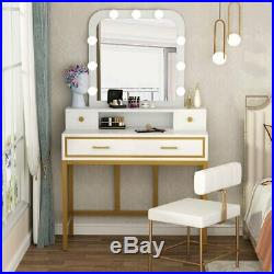 Vanity Table with Mirror Makeup Vanity Set with 4 Drawers& 9 Hollywood Style Bulbs