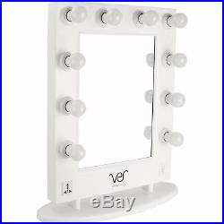 Ver Beauty White Matte, Lighted Hollywood Vanity Mirror with Dimmer