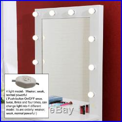 Vintage White Vanity Makeup Dressing Table Set with 1 Drawer & Hollywood Mirror