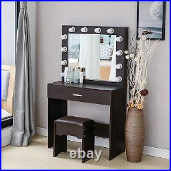 Walnut Vanity Set with Led Light Hollywood Mirror Drawer Makeup Dressing Table