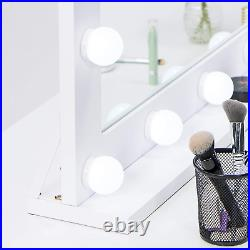 Waneway Hollywood Mirror with Lights for Dressing Table, Large Wooden Lighted