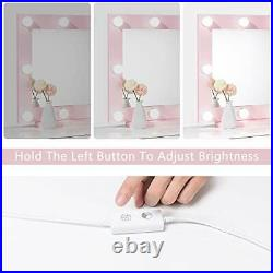 Waneway Hollywood Vanity Mirror with Lights, Large Lighted Makeup Mirror pink