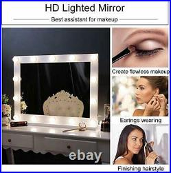 Wellmet Hollywood Vanity Mirror with Lights, White Dressing Table Mirror with