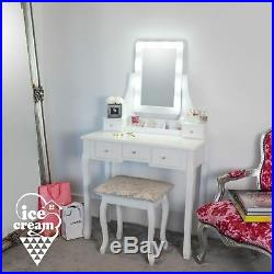 White Hollywood LED Lights Dressing Table 5 Drawers Vanity Mirror Stool Makeup
