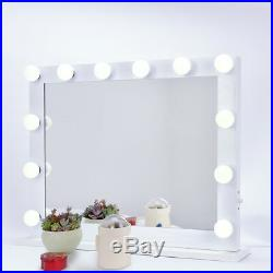 White Hollywood Makeup Mirror Vanity with Light Dimmer Stage Beauty Mirror New