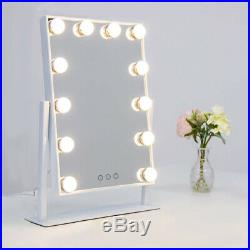 White Hollywood Makeup Mirror Vanity with Light Dimmer Stage Tabletop Beauty USA