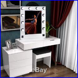 White Large Hollywood Makeup Vanity Mirror with Light Dimmer Stage Beauty Mirror