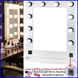 White Large Hollywood Makeup Vanity Mirror with Light Dimmer Stage Beauty Mirror A