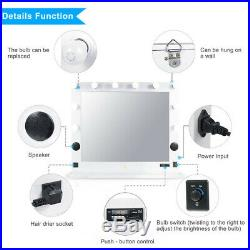 White Vanity Lighted Hollywood Makeup Mirror with Bluetooth Speaker, FM, 10 Bulbs