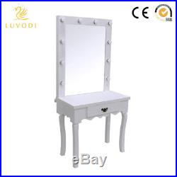 White Vanity Makeup Dressing Table Set Bedroom Stage LED Hollywood Makeup Mirror