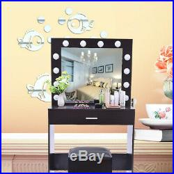 White Vanity Makeup Dressing Table Set with LED Lighted Hollywood Mirror Wood Desk