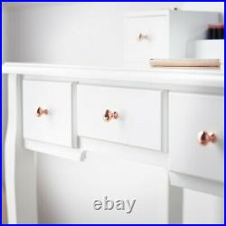 White Vanity Makeup Set Dressing Table Hollywood Bulbs Mirror Jewellery Cabinet