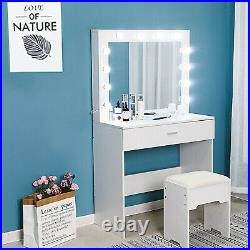 White Vanity Set with 12 Led Light Hollywood Mirror Drawer Makeup Dressing Table